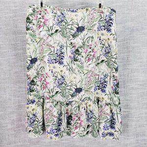 Ann Taylor LOFT 100% Silk Floral Skirt Size 14